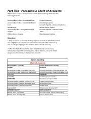Part Two Preparing A Chart Of Accounts Chapter 4 Problem Test Part Twopreparing A Chart Of