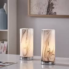 Pool Table Lights Costco Lumis Marble Effect Glass Touch Lamp 2 Pack Costco Uk