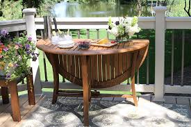 outdoor interiors round folding table inch brown gorgeous ands wooden rattan
