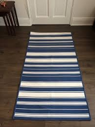 ikea alslev blue white striped rug runner
