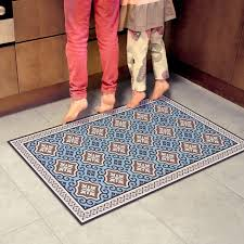 vinyl area rug with blue tiles decorative linoleum rug kitchen rug industrial kitchen mats