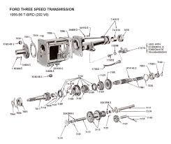 flathead parts drawings transmissions Borg Warner R10 Overdrive three speed std trans for 1955 56 t bird (292)
