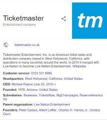Ticketmaster Customer Service Contact Number Helpline 0843 837 5459