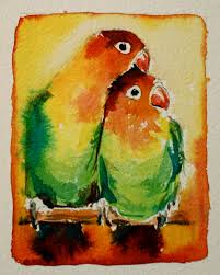 love birds original watercolour painting