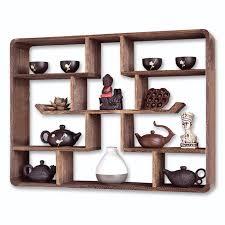 tea shelf solid wood wall hanging treasure pavilion wall tea shelf rack wall living room decoration