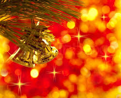 Gold Christmas tree decorations on lights red background | Stock Photo |  Colourbox
