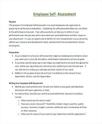 Employee Performance Self Assessment Employed Form Download ...