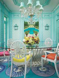 colorful dining rooms. Stunning Tropical Dining Room In Turquoise With Colorful Chairs Rooms E