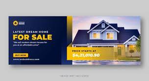 Premium Vector | Elegant modern home real estate facebook cover and banner  design template
