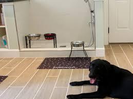 white tiled pet shower