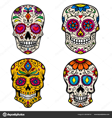 Day Of The Dead Skull Designs Set Colorful Sugar Skull Isolated White Background Day Dead
