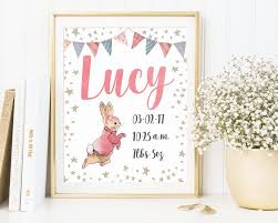 personalized birth announcement custom wall art peter rabbit beatrix potter stickers personalized nursery new baby  on personalized baby announcement wall art with art peter rabbit wall art personalized birth announcement custom