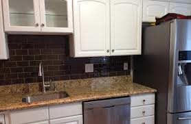 chocolate glass subway tile kitchen backsplash beautiful in