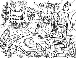 Small Picture The mythical Hawaiian tiki mask coloring page Fun Coloring Pages