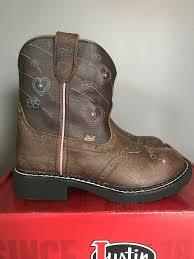 Justin Esmerelda 9205jr Brown Leather Light Up Cowboy Western Boots Girls 12