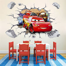 cars lightning mcqueen 3d wall stickers kids room decor nursery decals boy gift