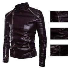 details about mens leather motorcycle biker jacket stand collar er coat outwear plus size