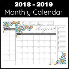 Daily Calander 2018 2019 Monthly Weekly Daily Calendar Planner Decorative Florals