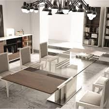 dining room rectangle glass room table modern set rectanguler two v base legs greenish chandelier