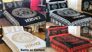 versace bedding set queen black gold red white silver satin sheet pillowcases bedroom duvet cover luxury