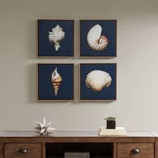 on brown framed wall art with ocean seashells framed canvas 4pc decorative wall art set blue target