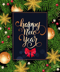 happy new year lettering in frame with bow free vector