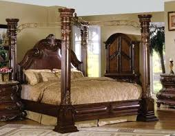 King Canopy Bed Traditional Dark Brown Cherry King Poster Canopy Bed ...