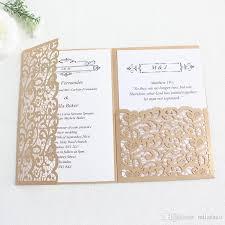 wedding invitations laser cutting gold navy blue burgundy tri fold pocket customized business invitations holiday greeting cards 50th birthday invitations
