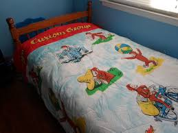 vintage curious george bedding twin size kids forter blanket 80s curious george toddler bed