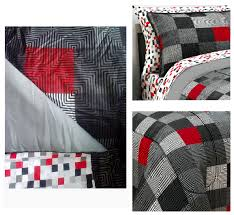 red black grey geo pixel bedding twin xl full queen teen boy comforter bed bag set