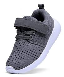 Boys Girls Lightweight Breathable Sneakers Strap Athletic Running Shoes Gray C418elhu3tg