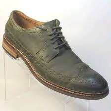 cole haan mens 12 m wingtip oxfords casual dress shoes green leather 10g