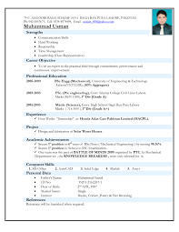 Resume Format For Engineering Fresher Download Resume Format For