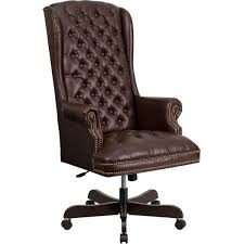 flash furniture ci 360 brn gg high back traditional tufted brown leather executive swivel office chair