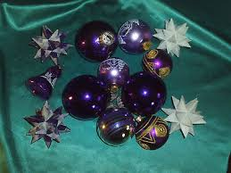 Konvolut Alter Christbaumschmuck Glas Weihnachtskugeln Lila