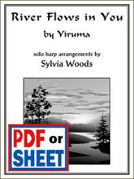 This sheet music features an arrangement for piano and voice with guitar chord frames, with the melody presented in the right hand of the piano part, as well as in. River Flows In You By Yiruma Arranged By Sylvia Woods Classical Books Pdfs Sylvia Woods Harp Center