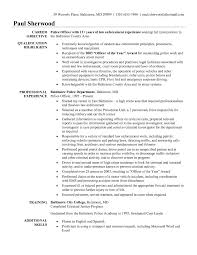 Field Officer Resume Examples Law Enforcement Entry Level Police