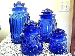 blue glass canister set vintage cobalt kitchen tall spaghetti jar retro canisters laurel small jars with