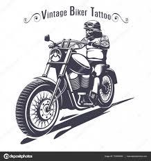 логотипы байкеров монохромный байкер татуировка шаблон векторное