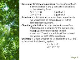 free powerpoint templates page 2 system of two linear equations two linear equations in two