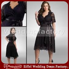 plus size wedding dresses with sleeves tea length black lace plus size bridesmaid dresses with sleeves a line surplice