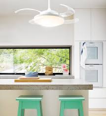 Retractable Kitchen Light Fanaway Evo2 Endure White Ceiling Fan With Clear Retractable