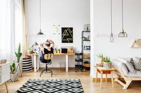 black and white office. Freelancer In Cozy White Office - Stock Photo Images Black And