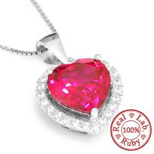 whole feelcolor 4 5ct pigeon blood red gem stone ruby pendant heart for women wedding 18k gold plated 925 sterling silver set whole jewelry name