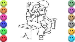 two friends reading book coloring pages drawing for kids learn colors