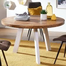 Esstisch Küchentisch Rund Massiv 130cm Skandinavisches Design Weiss
