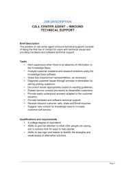 call center agent inbound_technical support job description call center job descriptions