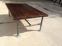 Reclaimed Pine Tabel Top On Galvanized Pipe Frame Coffee Table