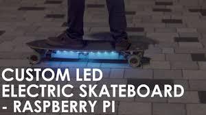 custom led lights on diy electric skateboard raspberry pi arduino powered