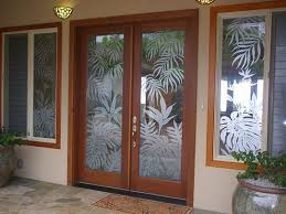 sandblasted double front doors and windows